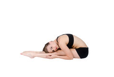 Gymnast stretching with straight legs Stock Photos