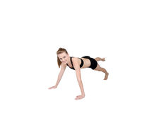 Gymnast stretching with straight legs Royalty Free Stock Photography