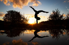 Gymnast in sunset Royalty Free Stock Photography
