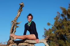 Gymnast suspending legs in a dead tree Stock Photography