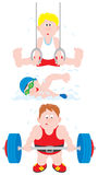 Gymnast, swimmer, weightlifter Stock Photography