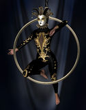 Gymnast with Venetian mask Royalty Free Stock Photos