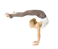 Gymnast woman flexible body standing on arms, training stretching, isolated white background stock photos