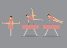Gymnast Woman on Pommel Horse and Vault Stock Photos