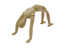 The Gymnast/Yoga: Back Arch/The Wheel/Chakrasana. A wooden mannequin doing gymnastics/yoga: isolated with clipping path Royalty Free Stock Photo