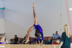 Gymnast Young Girl Handstand Beam Coach Royalty Free Stock Image