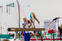 Gymnast Girl Beam Coach Hands Stock Images