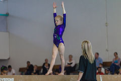 Gymnast Young Girl Beam Coach Stock Photography