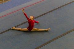 Gymnast Young Girl Dance Floor Stock Image