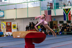 Gymnast Young Girl Jump Vault Royalty Free Stock Image