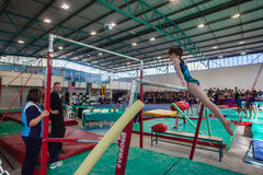 Gymnast Girl Parallel Bars Coaches Royalty Free Stock Photos