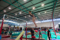 Gymnast Girl Parallel Bars Jump Royalty Free Stock Photos