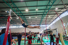 Gymnast Girl Parallel Bars Swings Stock Photo