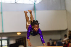 Gymnast Young Girl Vault flight Royalty Free Stock Photography