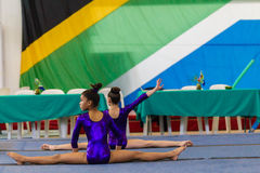 Gymnast Young Girls Warm Up Floor Royalty Free Stock Photos