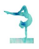 Gymnaste bleu Gymanstics d'aquarelle sur la carte d'affiche d'illustration de faisceau d'équilibre illustration libre de droits