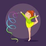 Gymnaste de petite fille exécutant avec le ruban Photographie stock libre de droits