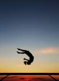 Gymnaste sur le faisceau d'équilibre Images libres de droits
