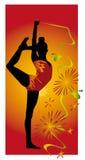 Gymnaste sur un fond rouge Images libres de droits