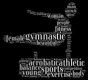 Gymnastic. Info-text graphics composed in gymnast shape concept on black background Royalty Free Stock Images
