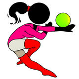 Gymnastic with ball. Silhouette-woman sport icon - girl gymnastic with ball Royalty Free Stock Image