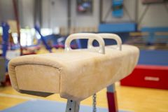 Free Gymnastic Equipment In A Gym Stock Photo - 118246920