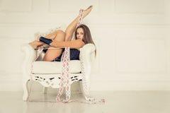 Gymnastic fashion model Royalty Free Stock Photos