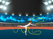 Gymnastic Girl with Ribbon for Sports concept. Stock Photos