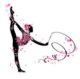 Gymnastic girl silhouette. Dancing gymnastic woman black silhouette with transparent pink flowers Stock Images