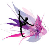 Gymnastic girl silhouette on pink background Royalty Free Stock Photography