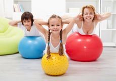 Gymnastic at home - with large balls Stock Photos