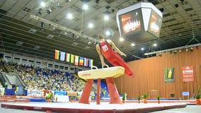Gymnastic horse, Ukraine Nation CUP (Stella Zakharova Cup) 2015,. KIEV - MAY 24: Ukraine Nation CUP (Stella Zakharova Cup) 2015, International sport gymnastics stock video footage