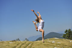 Gymnastic in nature royalty free stock photo