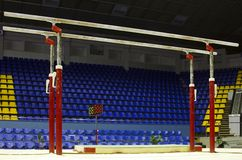 Gymnastic parallel bars. In sport palace Royalty Free Stock Images