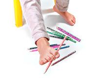gymnastic with pencils Royalty Free Stock Photography