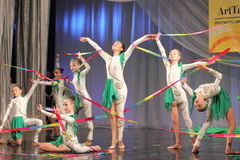 Gymnastic performance with ribbons Stock Photography