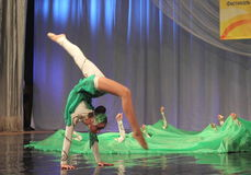 Gymnastic performance with ribbons Royalty Free Stock Images