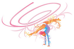 Gymnastic performer with fantasy concept royalty free illustration