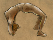 Gymnastic pose. Hand drawn sketch of a flexible girl performing gymnastic pose Royalty Free Stock Photography