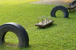 Gymnastic rings for fitness. In the playground Stock Photography