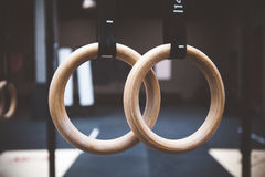 Gymnastic rings in gym Stock Photography