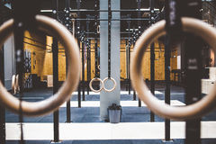 Gymnastic rings in gym Royalty Free Stock Photo