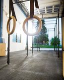 Gymnastic Rings At Gym Stock Photo