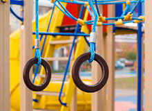 Gymnastic rings at the playground Stock Image