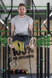 Gymnastic rings workout Royalty Free Stock Photo