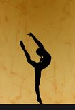 Gymnastic silhouette. Chinese girl in gymnastics poses Royalty Free Stock Photography