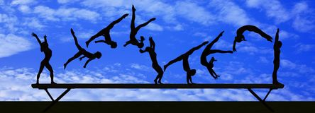 Gymnastic silhouette Stock Photos