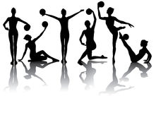 Gymnastic silhouettes Stock Images