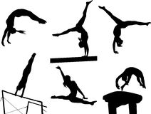 Gymnastic Silhouettes  Royalty Free Stock Photography
