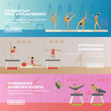 Gymnastic sport competition arena banner. Stock Photo